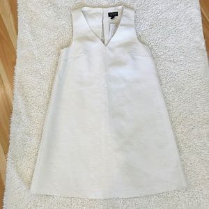 Topshop Detailed White Shift Dress Size 2